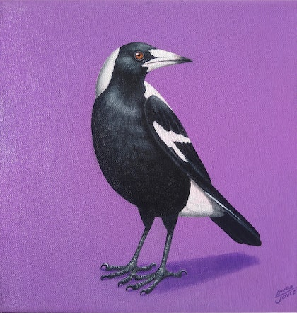 (CreativeWork) MAGPIE#1 by Linda Joyce. arcylic-painting. Shop online at Bluethumb.