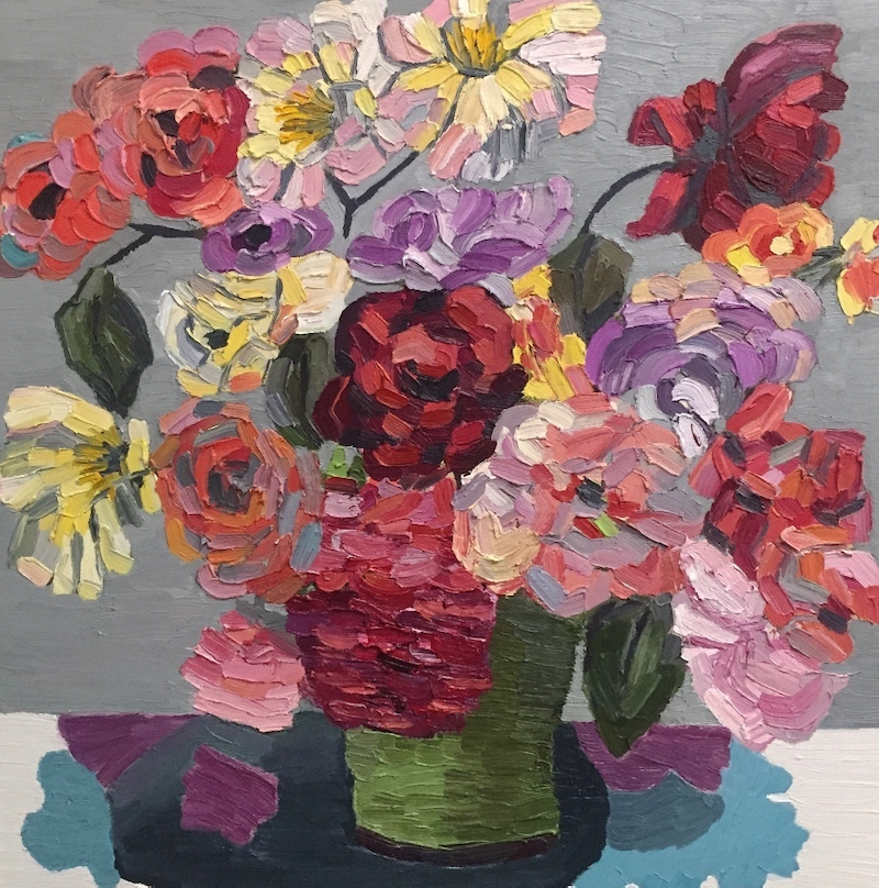 (CreativeWork) Retro Roses  by Elisabeth Howlett. oil-painting. Shop online at Bluethumb.