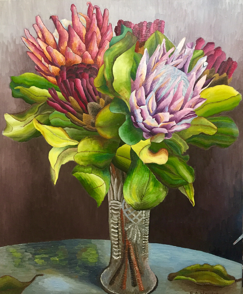 (CreativeWork) Mother's Bunch  by Elisabeth Howlett. oil-painting. Shop online at Bluethumb.