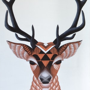 (CreativeWork) Antler Envy by Erin Hale. arcylic-painting. Shop online at Bluethumb.