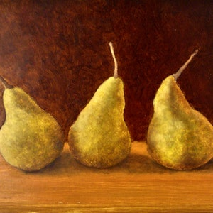 (CreativeWork) Still Life with Pears by Bern Ferraz. oil-painting. Shop online at Bluethumb.