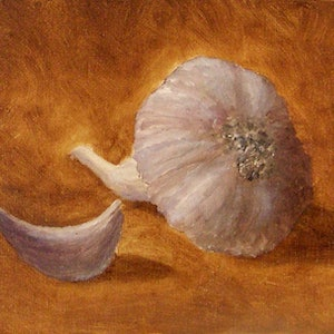 (CreativeWork) Still Life Sketch with Garlic by Bern Ferraz. oil-painting. Shop online at Bluethumb.