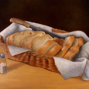 (CreativeWork) Still Life with Bread and Salt by Bern Ferraz. oil-painting. Shop online at Bluethumb.