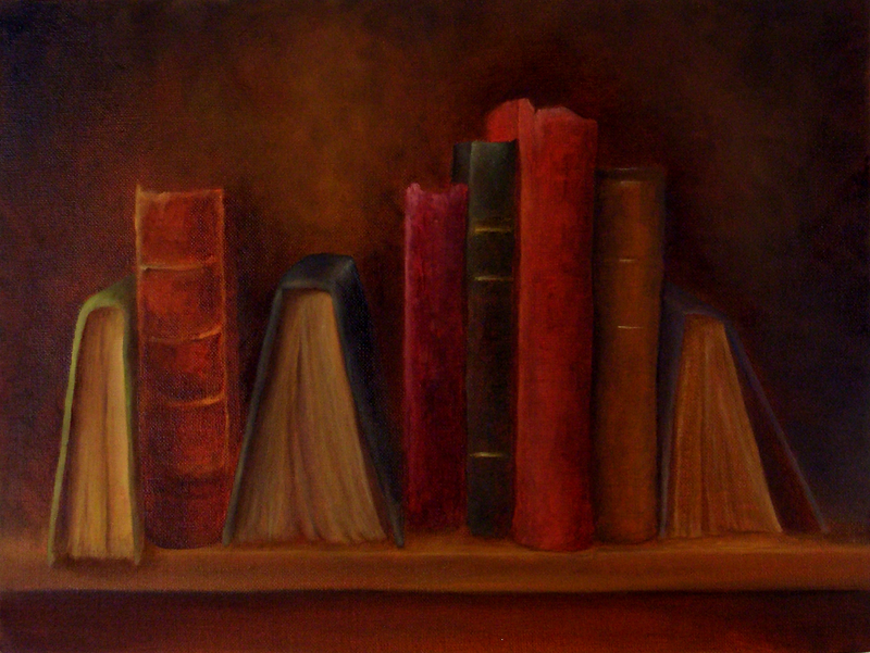 (CreativeWork) Still Life with Books 3 by Bern Ferraz. oil-painting. Shop online at Bluethumb.