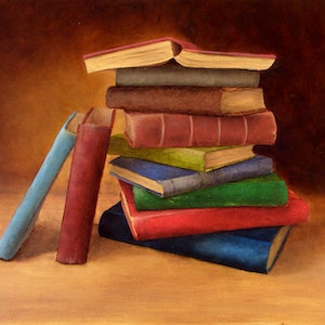 (CreativeWork) Still Life with Books 1 by Bern Ferraz. oil-painting. Shop online at Bluethumb.