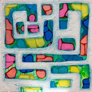 (CreativeWork) Keeping Track by Lisa Maris McDonell. arcylic-painting. Shop online at Bluethumb.