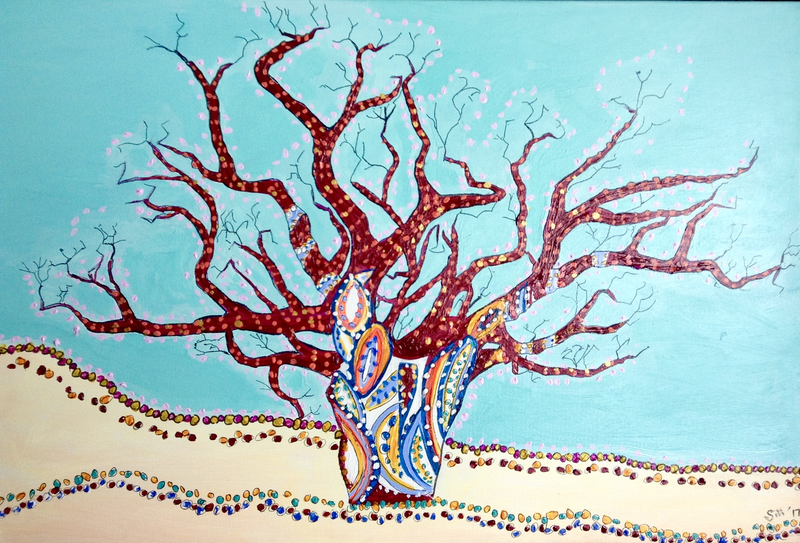 (CreativeWork) Boab Tree Bliss by Gillian Fahey. arcylic-painting. Shop online at Bluethumb.