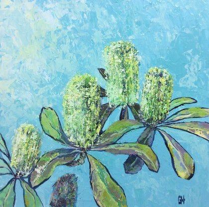 (CreativeWork) Colourful Banksias Original Textured Painting  by Chris Hobel. arcylic-painting. Shop online at Bluethumb.