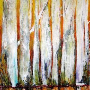(CreativeWork) Trees on the Edge  by Glenise Clelland. arcylic-painting. Shop online at Bluethumb.