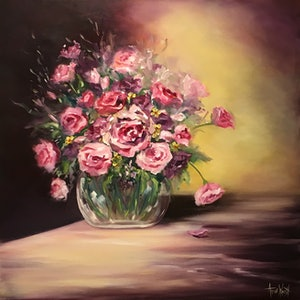 (CreativeWork) Mother's Day Bouquet by Anne Walsh. oil-painting. Shop online at Bluethumb.