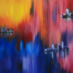 (CreativeWork) City Reflections by Anne Walsh. acrylic-painting. Shop online at Bluethumb.