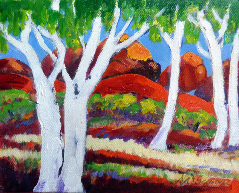 (CreativeWork) Devils Marbles N.T. by Virginia McGowan. oil-painting. Shop online at Bluethumb.