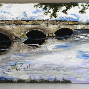 (CreativeWork) Bridge in Tasmania by GLENN SPECK. oil-painting. Shop online at Bluethumb.