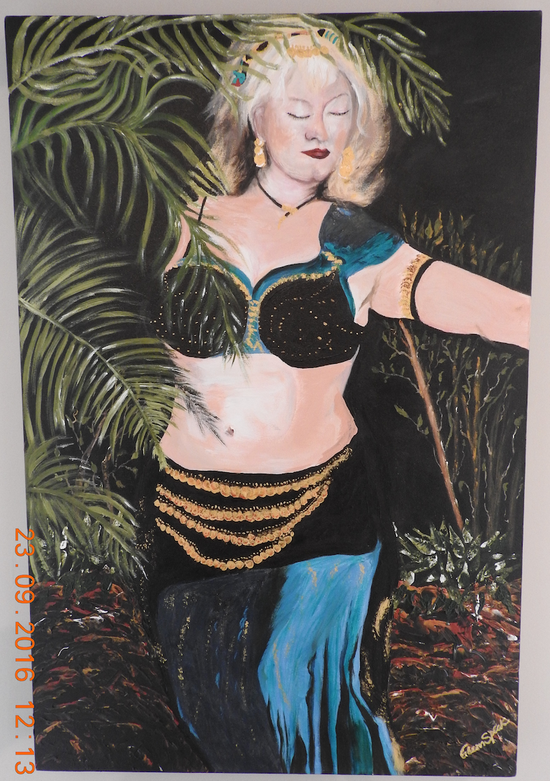 (CreativeWork) Belly Dancer by GLENN SPECK. oil-painting. Shop online at Bluethumb.