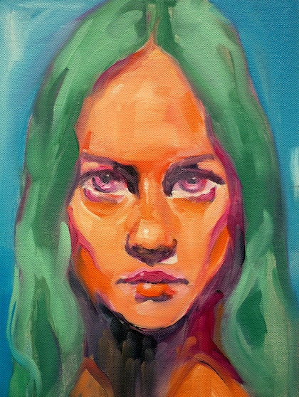 (CreativeWork) Potrait of Imogen. by Sergio Rigoli. oil-painting. Shop online at Bluethumb.