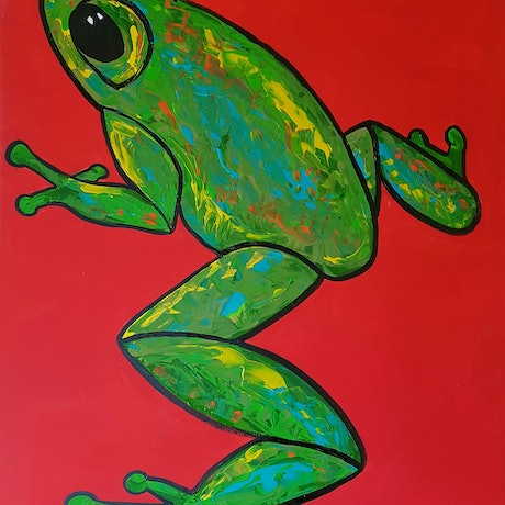 (CreativeWork) Frog climbing up a Red Wall by Louise Stewart-Brown. Acrylic Paint. Shop online at Bluethumb.