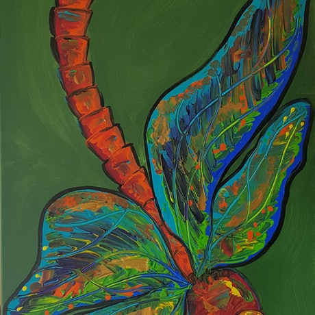 (CreativeWork) Dragon Fly on the Wing by Louise Stewart-Brown. Acrylic Paint. Shop online at Bluethumb.