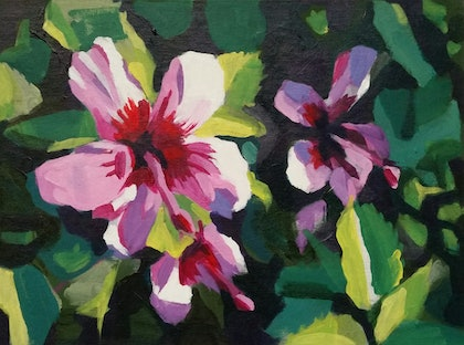 (CreativeWork) Hibiscus - Blues Point by Sergio Rigoli. arcylic-painting. Shop online at Bluethumb.