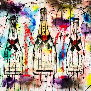 (CreativeWork) Moet & Chandon Trio by Leith Kennedy. mixed-media. Shop online at Bluethumb.
