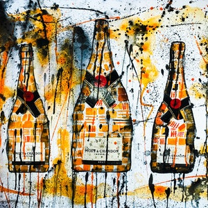 (CreativeWork) Moet & Chandon Trio II by Leith Kennedy. mixed-media. Shop online at Bluethumb.