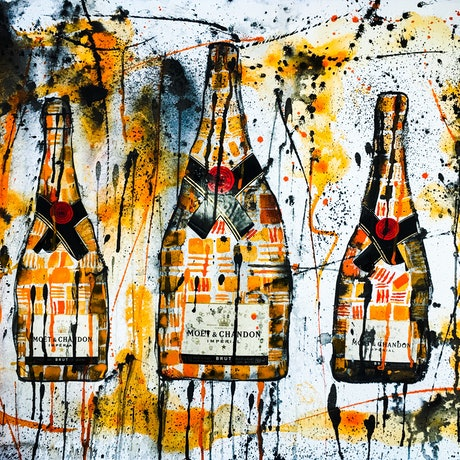(CreativeWork) Moet & Chandon Trio II by Leith Kennedy. Mixed Media. Shop online at Bluethumb.
