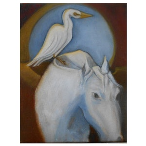 (CreativeWork) The White Ponies Eclipse  by Karen Gingell. oil-painting. Shop online at Bluethumb.