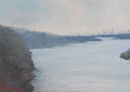 (CreativeWork) Heading  Inn, Parramatta  River  by Terrence Dower. oil-painting. Shop online at Bluethumb.