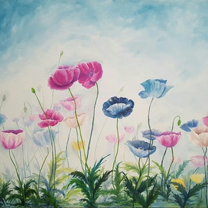 (CreativeWork) Poppy Parade by Trudie Diserens. arcylic-painting. Shop online at Bluethumb.