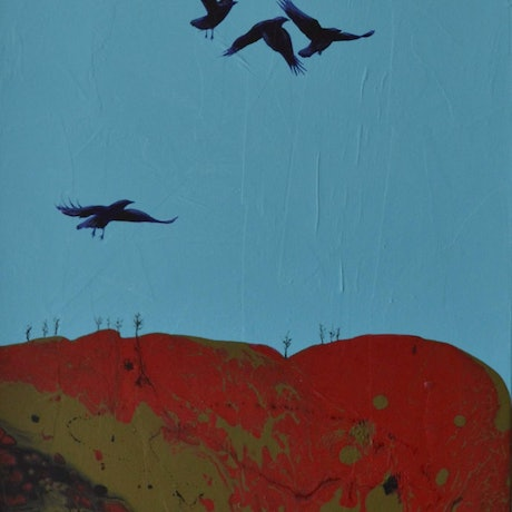 (CreativeWork) AS THE CROW FLIES by GILLIAN ROULSTON. Acrylic Paint. Shop online at Bluethumb.