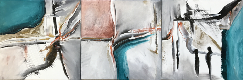 (CreativeWork) Talking about Life´s path (Triptych of 3 paintings) by Alejandra Sieder. arcylic-painting. Shop online at Bluethumb.