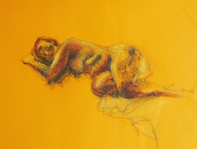 (CreativeWork) Life Drawing - Woman Asleep - In Peace by Ishbel Morag Miller. drawing. Shop online at Bluethumb.