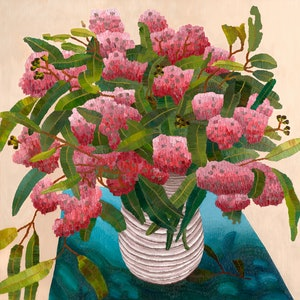 (CreativeWork) Goolwa Gum Blossom  by Elisabeth Howlett. oil-painting. Shop online at Bluethumb.