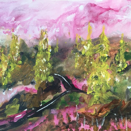 (CreativeWork) Pink Skies Ahead by Cynthia Copley. Acrylic Paint. Shop online at Bluethumb.