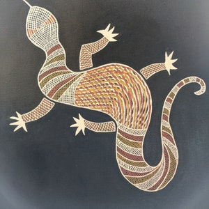 "(CreativeWork) ""Gugga""  The Goanna by Michael Breen. arcylic-painting. Shop online at Bluethumb."