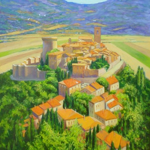 (CreativeWork) Gualdo Cattaneo Fortified Village Italy by Dai Wynn. oil-painting. Shop online at Bluethumb.