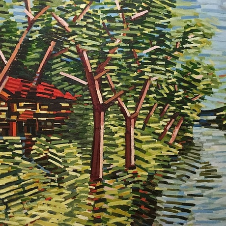 (CreativeWork) Boathouse by D.M. (David Martin) Ross. Oil Paint. Shop online at Bluethumb.