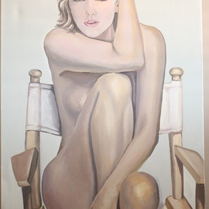 (CreativeWork) 'NUDE' by Ema mullalli. oil-painting. Shop online at Bluethumb.