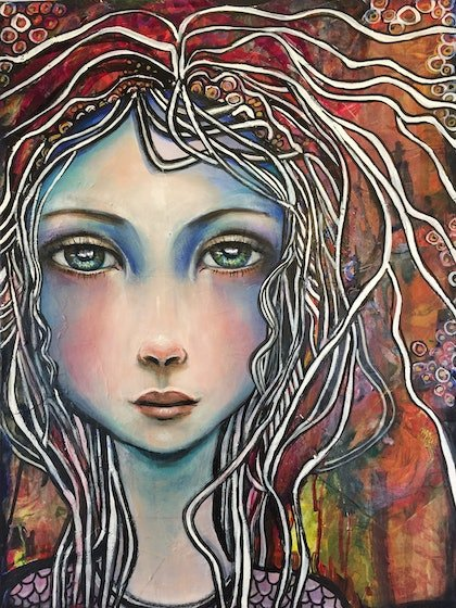 (CreativeWork) Blue Girl. by Marianne Ulbrick. arcylic-painting. Shop online at Bluethumb.