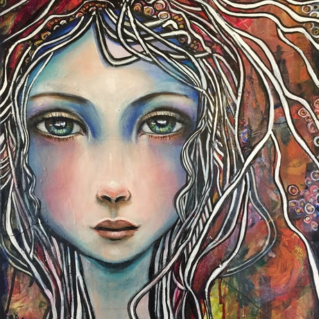 (CreativeWork) Blue Girl. by Marianne Ulbrick. Acrylic Paint. Shop online at Bluethumb.