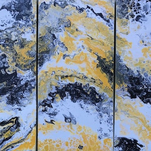 "(CreativeWork) ORIGINAL ABSTRACT ART PAINTING ON STRETCHED CANVAS  ""TRIPTYCH HAVEN""  YELLOW BLACK WHITE by Debra Ryan. mixed-media. Shop online at Bluethumb."