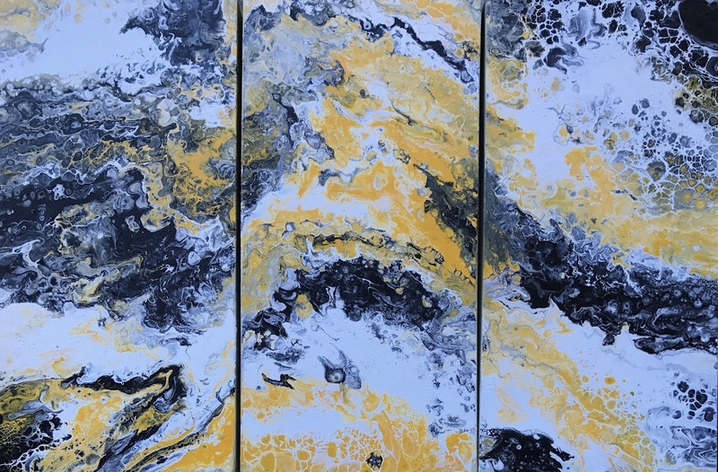 Original Abstract Art Painting On Stretched Canvas Triptych Haven Yellow Black White