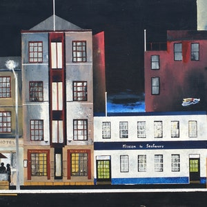 (CreativeWork) Morrison Street, Hobart (1) by Christopher Johnston. arcylic-painting. Shop online at Bluethumb.