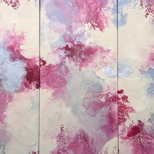 """(CreativeWork) ORIGINAL ABSTRACT ART PAINTING ON STRETCHED CANVAS  SET of 3 """"RASPBERRY DREAMS"""" RED CREAM SILVER by Debra Ryan. mixed-media. Shop online at Bluethumb."""