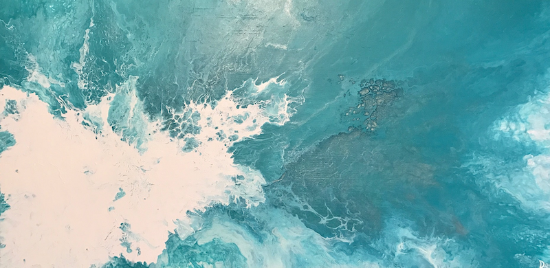 "(CreativeWork) ORIGINAL ABSTRACT ART PAINTING ON STRETCHED CANVAS  ""RESONATE""  TEAL GREEN WHITE by Debra Ryan. mixed-media. Shop online at Bluethumb."