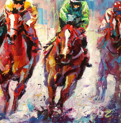 (CreativeWork) Finish Line by Jos Coufreur. Acrylic. Shop online at Bluethumb.