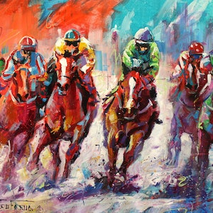 (CreativeWork) Finish Line by Jos Coufreur. arcylic-painting. Shop online at Bluethumb.