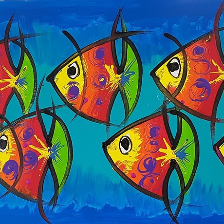 (CreativeWork) Eyes Everywhere - Little Angel Fishes by Louise Stewart-Brown. Acrylic Paint. Shop online at Bluethumb.
