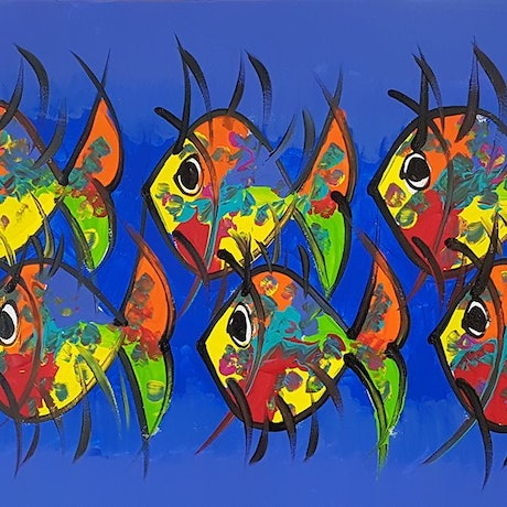 (CreativeWork) Eyes Everywhere - Little Happy Fishes with Eyes Everywhere by Louise Stewart-Brown. Acrylic Paint. Shop online at Bluethumb.