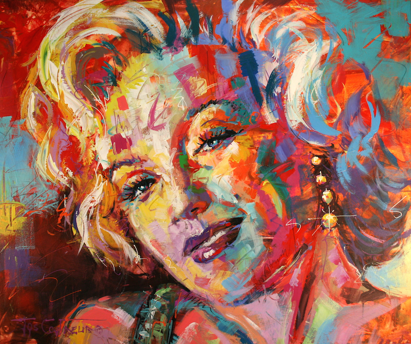 (CreativeWork) Marilyn Monroe by Jos Coufreur. acrylic-painting. Shop online at Bluethumb.