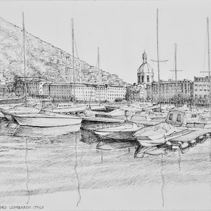 (CreativeWork) Como on Lake Como Lombardy Italy by Dai Wynn. drawing. Shop online at Bluethumb.
